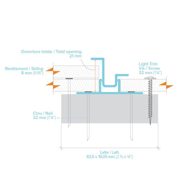 Plan d'assemblage de Moulure verticale pour panneaux et déclin