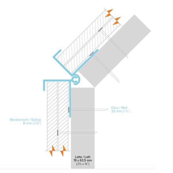 Moulure coin extérieur à angle variable de 90 à 160 degrés pour déclin 3/4 pouces - Adjustable 90 to 160 degree angle exterior corner trim for 3/4 inch lap