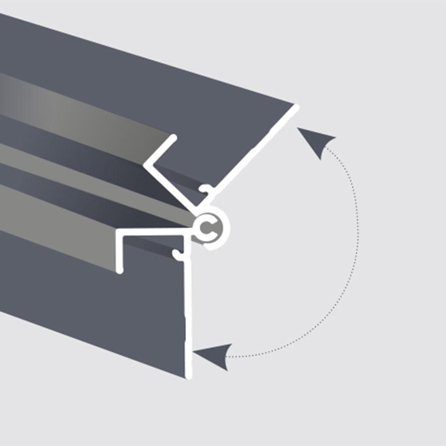"Adjustable 90-160° angle exterior corner trim for 5/16"" panels"